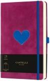 Caiet cu elastic Velluto 13 x 21 cm, Heart, velin Castelli