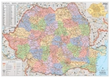 Harta de perete Romania Administrativa 160 x 120 cm sipci lemn