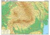 Harta Romania Fizico Geografica si Harta Contur 160 x 120 cm sipci de lemn