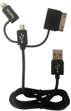 Cablu de date 3 in 1, MicroUSB/Lightning/30-pin, 1 m, Hama