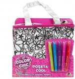 Poseta de colorat, fete, cu 5 markere, Color Chic Noriel