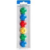 Magneti Smiley Face 30 mm, multicolor, 6 buc/set Starpak