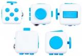 Jucarie senzoriala antistres Fidget Cube, alb/albastru