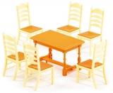 Set de joaca Masa cu scaune pentru papusi 54395, 7 piese/set, Wader Polesie
