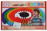 Joc domino din lemn colorat, 100 piese/cutie