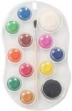 Acuarele 10 culori + alb, negru si pensula