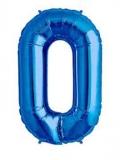 Balon folie aluminiu cifra 0 albastru 46 cm
