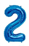 Balon folie aluminiu cifra 2 albastru 46 cm