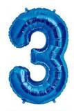 Balon folie aluminiu cifra 3 albastru 46 cm