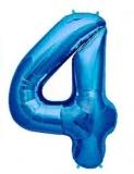 Balon folie aluminiu cifra 4 albastru 46 cm