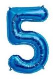 Balon folie aluminiu cifra 5 albastru 46 cm