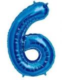 Balon folie aluminiu cifra 6 albastru 46 cm