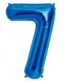 Balon folie aluminiu cifra 7 albastru 46 cm
