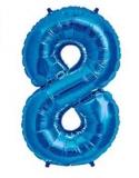 Balon folie aluminiu cifra 8 albastru 46 cm