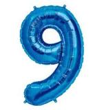 Balon folie aluminiu cifra 9 albastru 46 cm