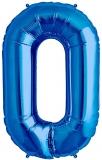 Balon cifra 0, din folie de aluminiu, albastru, 46 cm