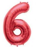 Balon folie aluminiu cifra 6 rosu 46 cm