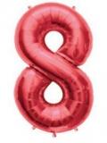 Balon folie aluminiu cifra 8 rosu 46 cm
