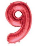 Balon folie aluminiu cifra 9 rosu 46 cm