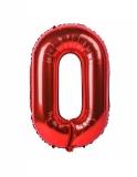 Balon cifra 0, din folie de aluminiu, rosu, 46 cm