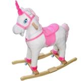 Balansoar Unicorn lemn si plus cu rotile
