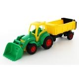 Tractor cu incarcator si remorca Champion, 86 cm, verde Wader Polesie