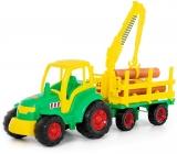 Jucarie Tractor si remorca cu lemne 8229 Champion Polesie