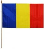 Steag din panza, 45 x 30 cm, cu suport din lemn, Romania