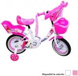 Bicicleta copii, fete, cadru metalic, roti 12 inch, cos plastic, diferite culori, Girl