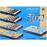 Joc magnetic 5 in 1: serpi si scari, ludo, sah, dame, sah si dame, tabla magnetica 24 cm