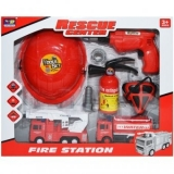 Set pompieri, masini + unelte + casca Rescue Center