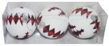 Globuri pentru pomul de Craciun, albe si braduti, 8 cm, 3 buc/set