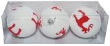 Globuri pentru pomul de Craciun, albe-reni, 8 cm, 3 buc/set
