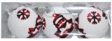 Globuri pentru pomul de Craciun, albe-Mos Craciun, 8 cm, 3 buc/set