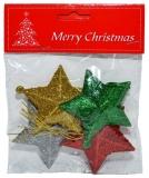 Ornament Craciun, stelute cu sclipici color, 4 buc/set
