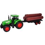 Jucarie Tractor cu remorca cu lemne, 39 cm