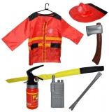 Set de joaca Costum pompier cu accesorii, 7 piese