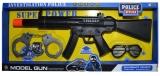Jucarie Pistol mitraliera cu baterii si accesorii politie, in cutie