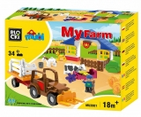 Joc constructie Mubi, Ferma + tractor, 34 piese Blocki