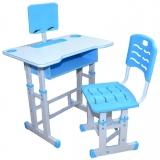 Birou cu scaunel, reglabile, culoare albastru, din PAL cu metal si plastic