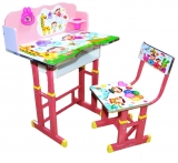 Birou cu scaunel, reglabile, cu desene, culoare roz, din MDF cu metal