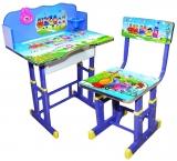 Birou cu scaunel, reglabile, cu desene, culoare albastru, din MDF cu metal