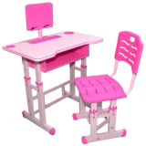 Birou cu scaunel, reglabile, din PAL, metal si plastic, culoare roz