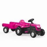 Tractor cu pedale si remorca, Unicorn, roz, 2508 Dolu