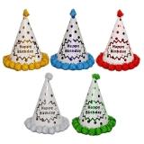 Coif din carton pentru petrecere, cu buline si paiete, 22 cm, diverse culori