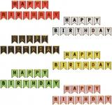 Ghirlanda Happy Birthday cu banda adeziva, diverse culori