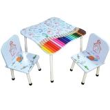 Masuta cu 2 scaunele, din MDF si metal, model Desene
