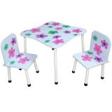 Masuta cu 2 scaunele, din MDF si metal, model Flori