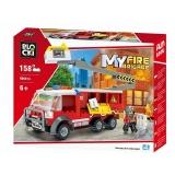 Joc constructie Camion pompieri cu lift, 158 piese, Blocki
