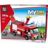 Joc constructie Camion pompieri, 206 piese, Blocki